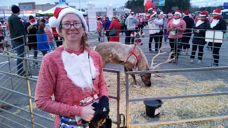 Donna before the Santa Hustle Half Marathon