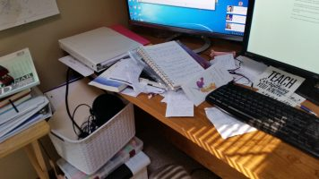 My cluttered desk, note card, greeting cards