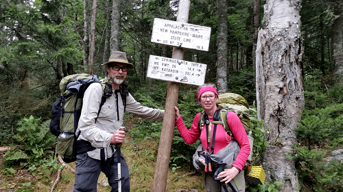 The boundary between New Hampshire and Maine on the Appalachian Trail