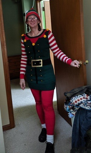 Donna Doyon in Christmas Elf costume